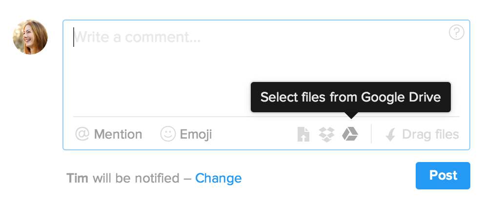 Attach Google Drive files in Flow's comment form